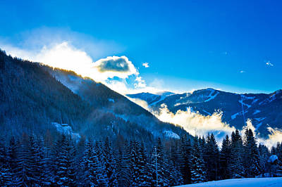 Photograph - Snowy Austrian Alps In Morning Clouds by Brch Photography