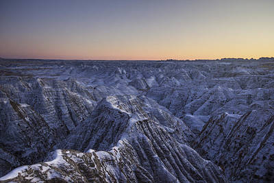 Photograph - Snowy Badlands by Aaron J Groen