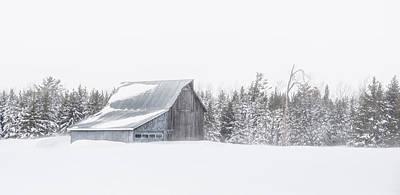 Snowy Barn Art Print by Dan Traun