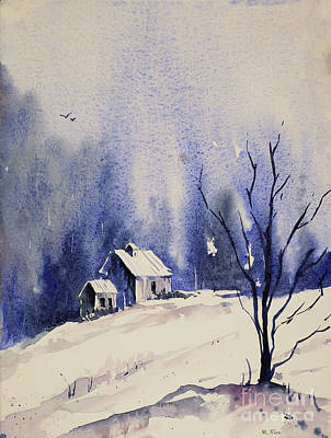 Painting - Snowy Barn  by Ryan Fox