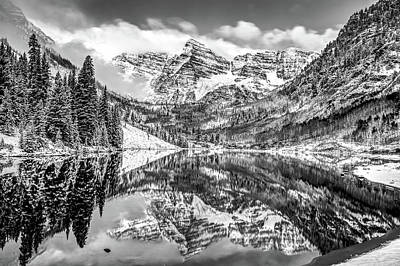 Photograph - Snowy Bells, Maroon Bells In Black And White, Aspen Colorado  by Gregory Ballos
