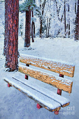 Painting - Snowy Bench Ap by Dan Carmichael