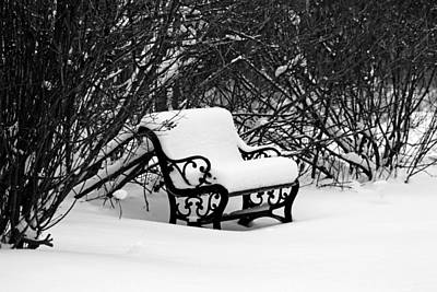 Photograph - Snowy Bench In Black And White by Debbie Oppermann
