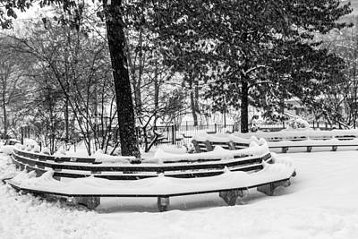 Photograph - Snowy Benches by Cornelis Verwaal