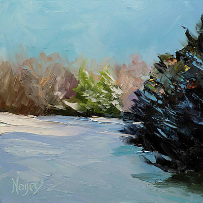 Snowy Bend Art Print by Mike Moyers