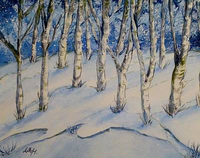 Painting - Snowy Birch Trees by Kelly Mills