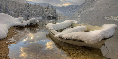 Abstract Stripe Patterns Rights Managed Images - Snowy Boat on Bohinj Royalty-Free Image by Ian Middleton