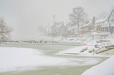 Phillies Digital Art - Snowy Boathouse Row - Philadelphia by Bill Cannon