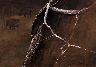 Painting - Snowy Branch With Wild Boars by Attila Meszlenyi