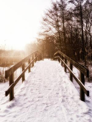 Photograph - Snowy Bridge by Wim Lanclus