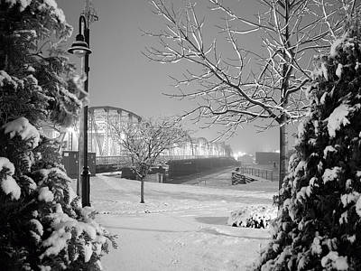 Door County Photograph - Snowy Bridge With Trees by Jeremy Evensen