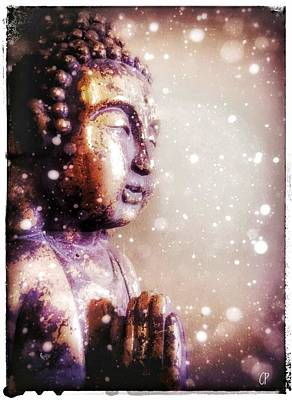 Mixed Media - Snowy Buddha by Christine Paris