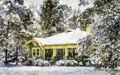Painting - Snowy Bungalow by Betsy Foster Breen