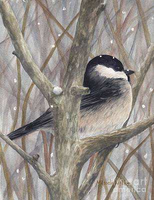 Painting - Snowy Chickadee by Michelle Welles