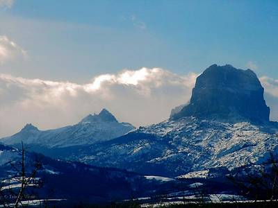 Photograph - Snowy Chief Mountain by Tracey Vivar