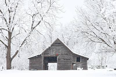 Photograph - Snowy Christmas Barn by Benanne Stiens