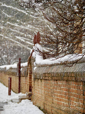Snowy Church Wall And Gate Print by Rachel Morrison