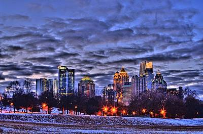 Corky Willis And Associates Atlanta Photograph - Snowy City At Night by Corky Willis Atlanta Photography