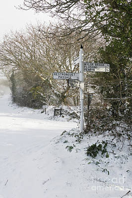 Photograph - Snowy Cornish Signpost by Terri Waters