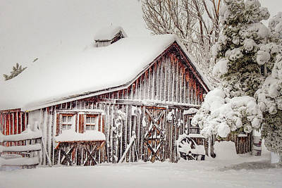 Photograph - Snowy Country Barn by Dawn Key