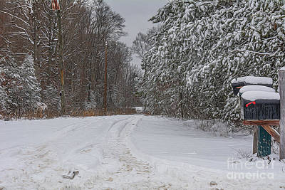 Snowy Country Lane Print by Kathy Liebrum Bailey
