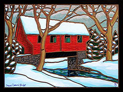 Snowy Covered Bridge Art Print