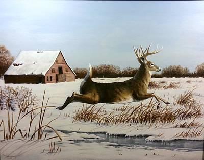 Wall Art - Painting - Snowy Creek Crossing by Paul Makuchal