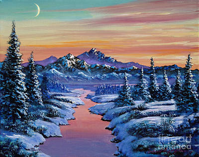 Snow Covered Trees Painting - Snowy Creek by David Lloyd Glover