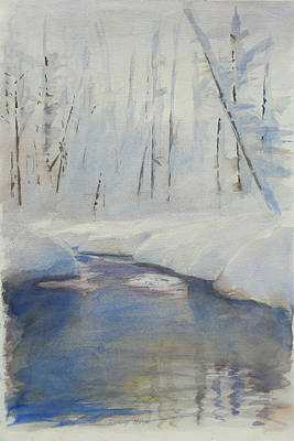 Slushy Mixed Media - Snowy Creek by Harley Harp