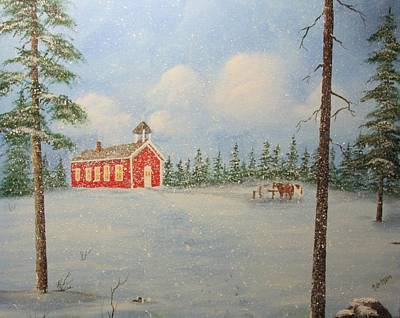 Red School House Painting - Snowy Day At School by Karen Johnson