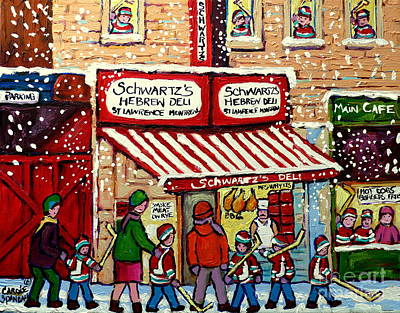 Streetscenes Painting - Snowy Day At Schwartz's Deli Montreal Winter City Scene Painting Hockey Art Carole Spandau           by Carole Spandau