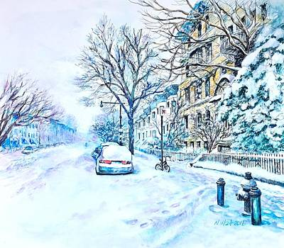 Painting - Snowy Day Brooklyn  by Nancy Wait