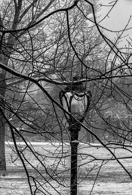 Snowy Day Central Park Streetlight Art Print