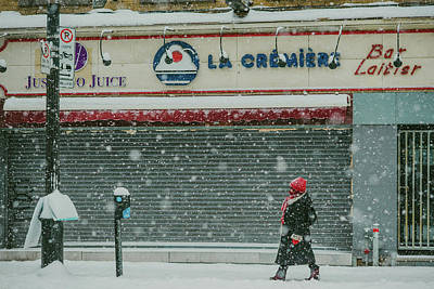 Photograph - Snowy Day In Downtown Montreal by Valerie Rosen