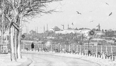 Snowy Day In Istanbul Art Print