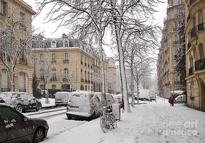 Slushy Photograph - Snowy Day In Paris by Louise Heusinkveld