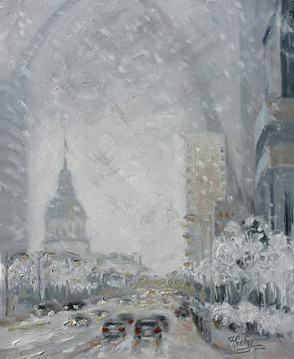 Painting - Snowy Day - Market Street Saint Louis by Irek Szelag