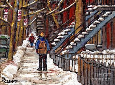 Of Verdun Montreal Winter Street Scenes Montreal Art Carole Painting - Snowy Day Verdun Painting Student Winter Walk By Staircase Best Montreal Art Canadian Urban Scenes by Carole Spandau