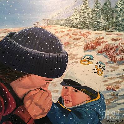 Painting - Snowy Day With My Dad by Stella Sherman