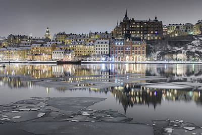 Photograph - Snowy, Dreamy Reflection In Stockholm by Dejan Kostic