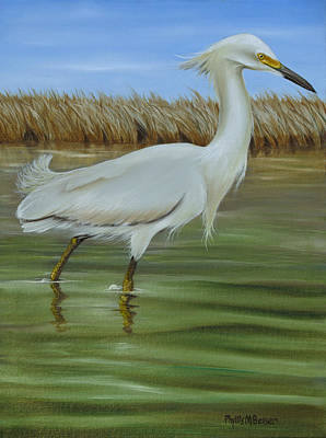 Art Print featuring the painting Snowy Egret 1 by Phyllis Beiser