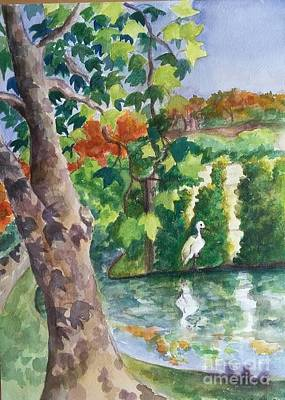 Painting - Snowy Egret By San Antonio River by Lynn Maverick Denzer