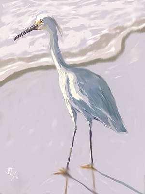 Digital Art - Snowy Egret by Jim Vance