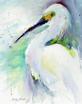 Painting - Snowy Egret On Lido Beach by Christy Lemp