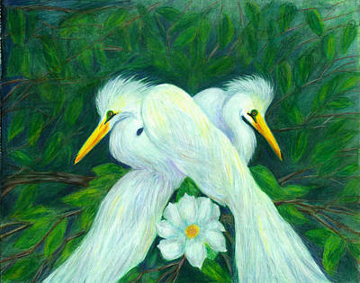 Art Print featuring the painting Snowy Egrets by Jeanne Kay Juhos
