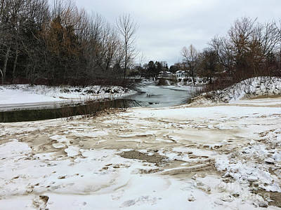 Photograph - Snowy Elk Rapids River by Laura Kinker