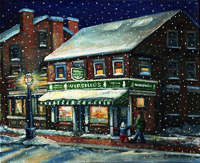 Snowy Evening In Gloucester, Ma Art Print