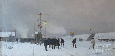 Railway Station Painting - Snowy Evening by MotionAge Designs