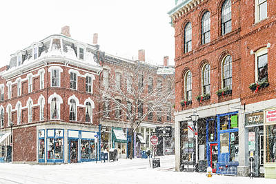 Photograph - Snowy Exchange Street  by Benjamin Williamson