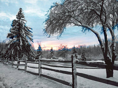 Snowy Fence And Pasture Print by Elaine Plesser